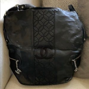 Black Chanel tote bag with silver accents